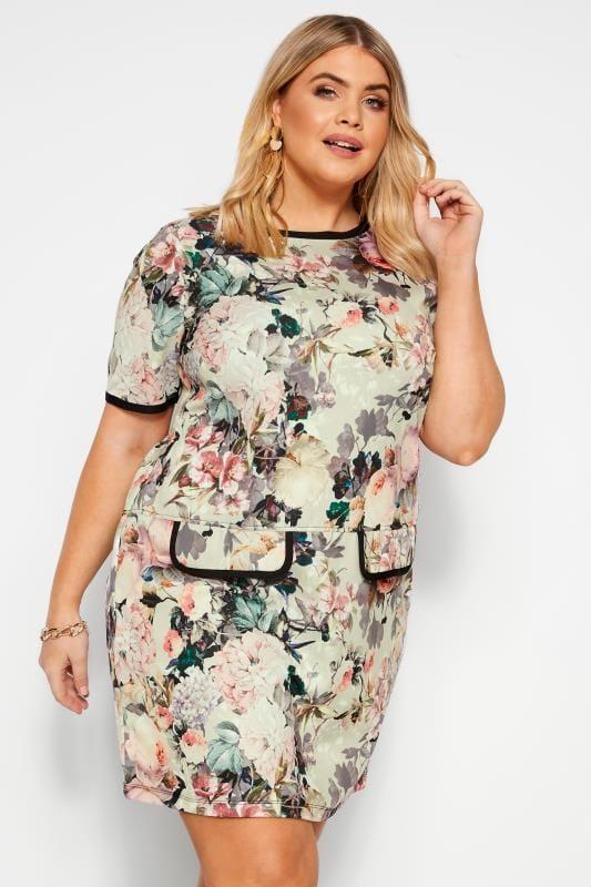 Plus Size Tunics Natural Floral Print Mock Pocket Tunic