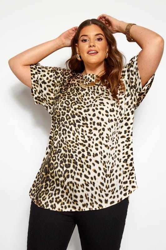 Plus Size Day Tops Natural Leopard Print Shell Top