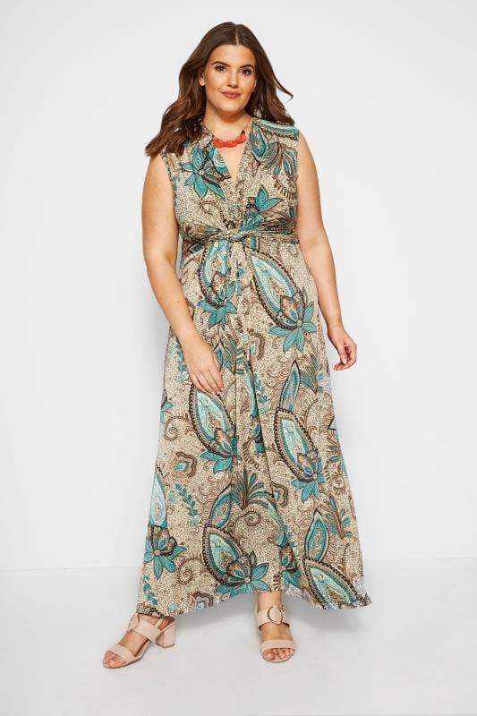 Natural Paisley Knot Front Maxi Dress