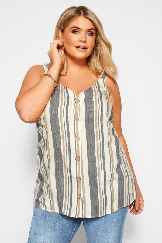 Plus Size Vests & Camis Natural Stripe Button Front Cami