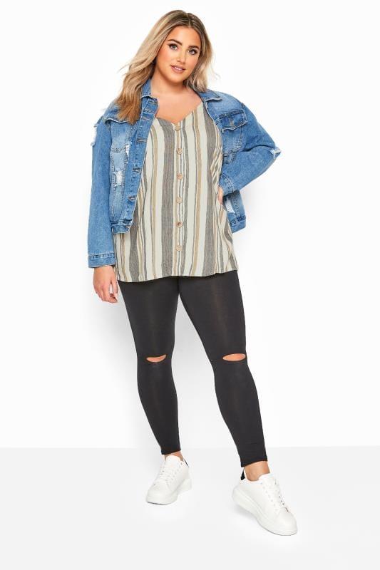 Natural Stripe Button Front Cami