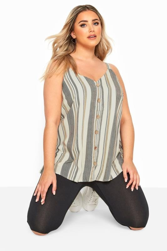 Plus Size Vests & Camis Natural Stripe Button Front Cami
