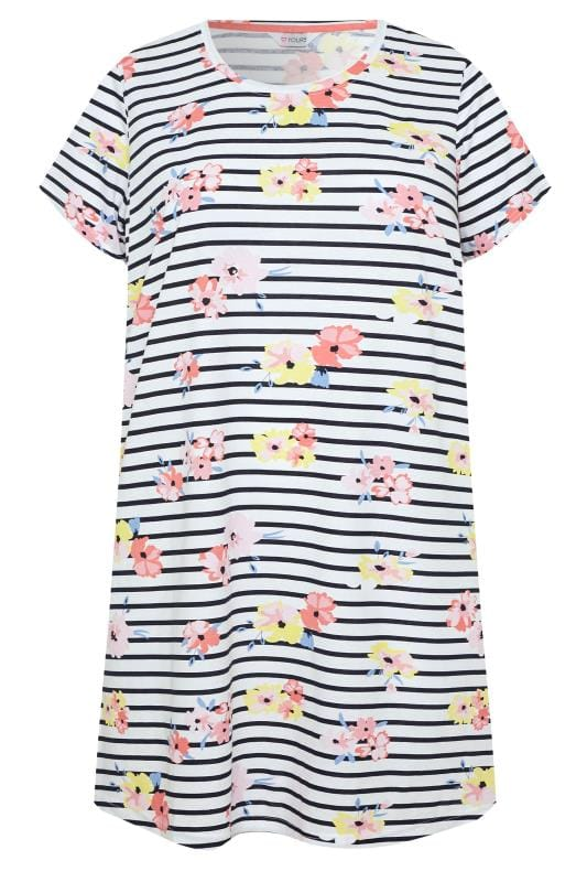 Plus Size Nightdresses & Chemises Black & White Stripe Floral Print Nightdress
