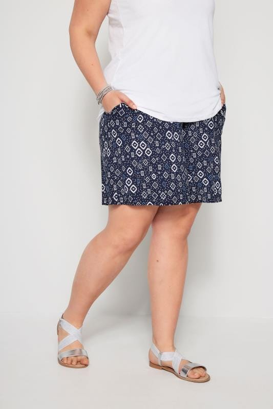 Plus Size Jersey Shorts Navy Aztec Jersey Shorts
