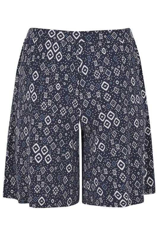 Navy Aztec Jersey Shorts