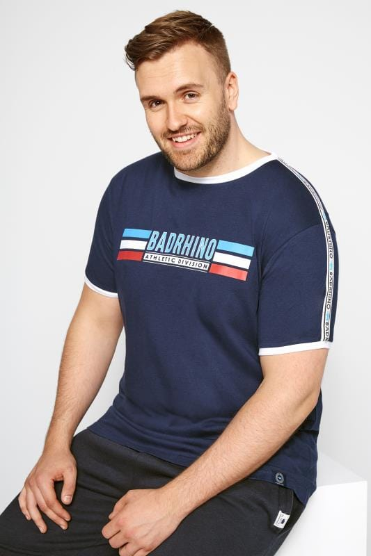 Plus Size T-Shirts Navy BadRhino Athletic Print T-Shirt