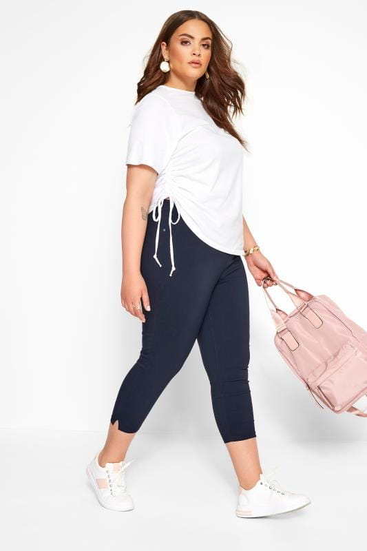 Plus Size Stretch Crops Navy Bengaline Cropped Pull On Trousers