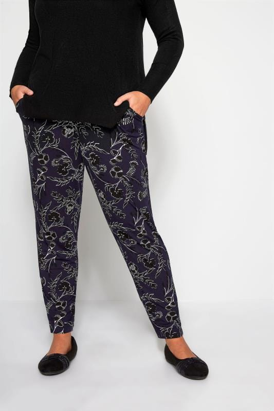 Plus Size Harem Trousers Navy & Black Floral Harem Trousers