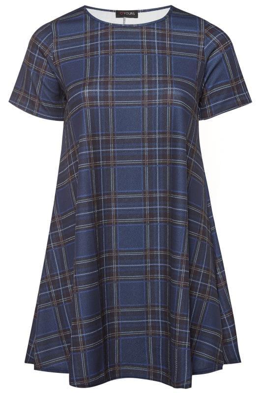 Navy Blue Check Swing Dress