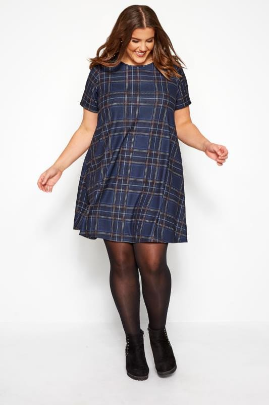 Plus Size Swing Dresses Navy Blue Check Swing Dress