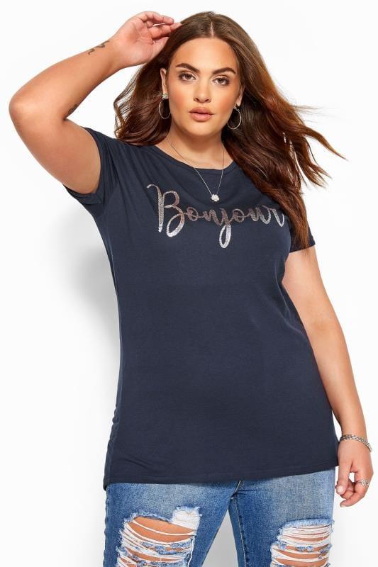 Navy 'Bonjour' Slogan T-Shirt