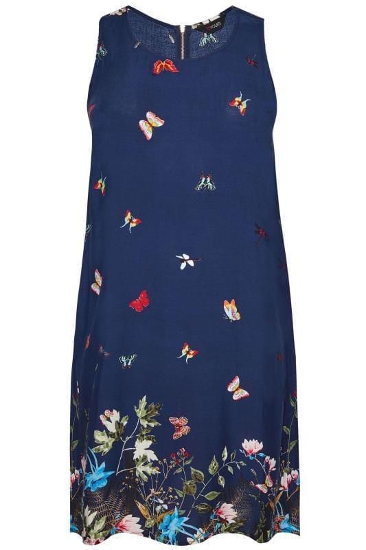 Navy Butterfly Border Print Shift Dress