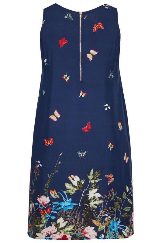 Granatowa sukienka w motyle