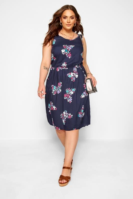 Plus-Größen Casual Dresses Navy Butterfly Print Pocket Skater Dress