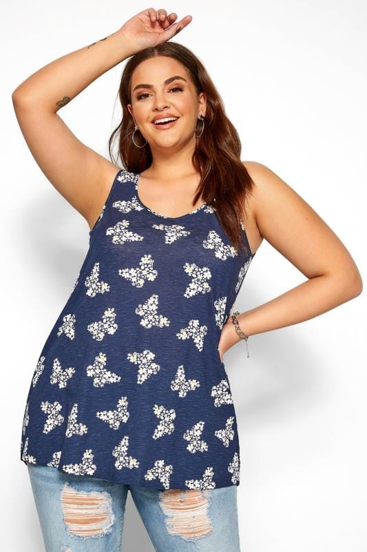 Vests & Camis Navy Butterfly Print Swing Vest Top