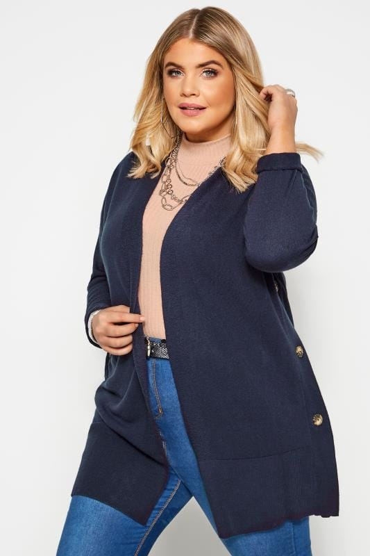 Plus Size Cardigans Navy Cashmilon Button Side Cardigan