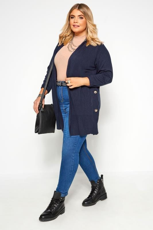 Navy Cashmilon Button Side Cardigan