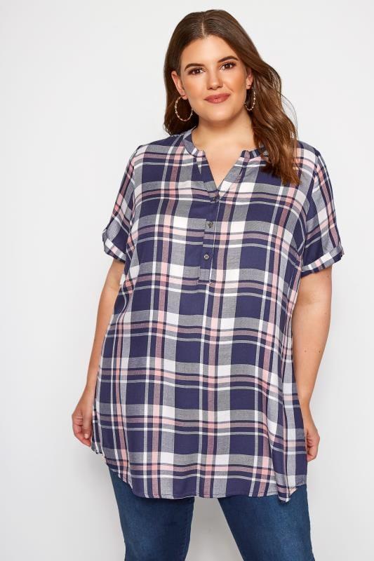 Plus Size Checked Shirts Navy Check Shirt