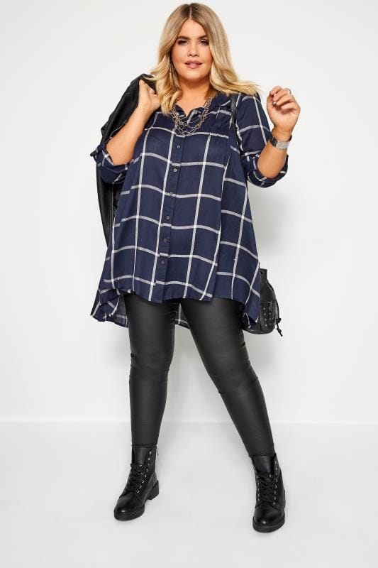 Navy Check Shirt With Extreme Dipped Hem