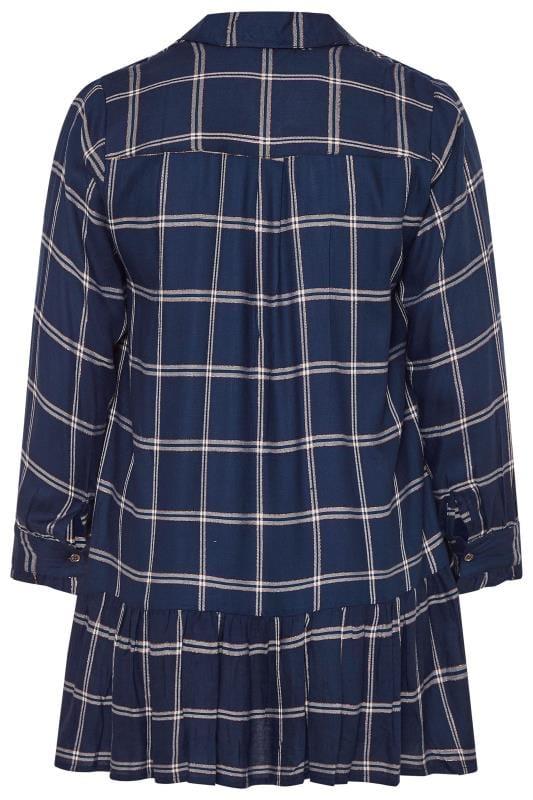 Navy Check Smock Tunic Shirt