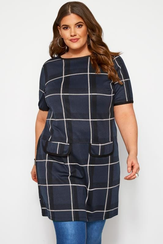 Plus Size Tunics Navy Check Tunic