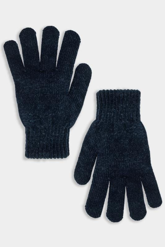 Plus Size Gloves Navy Chenille Gloves