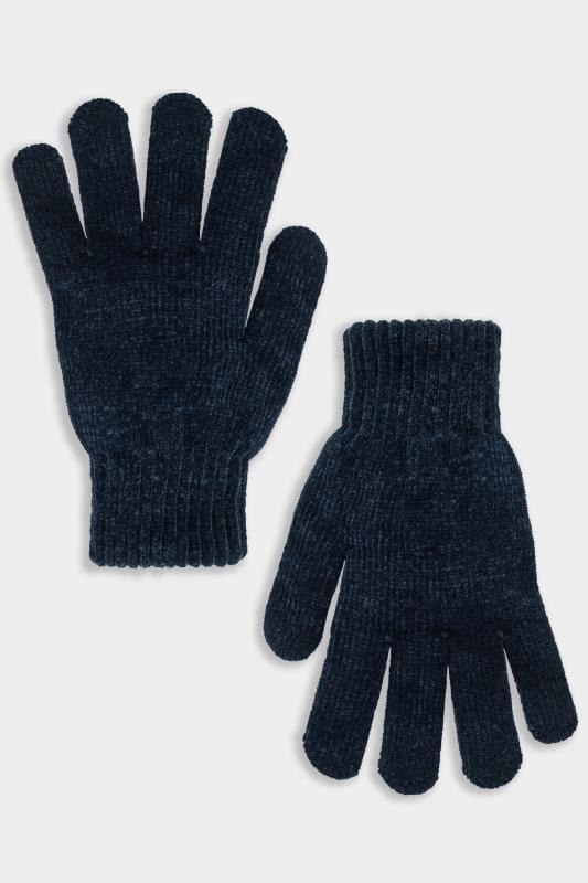 Plus Size Gloves Navy Chenille Gloves