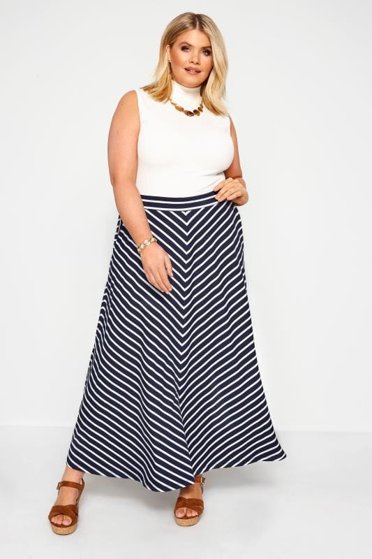 Plus-Größen Maxi Skirts Navy Chevron Maxi Skirt