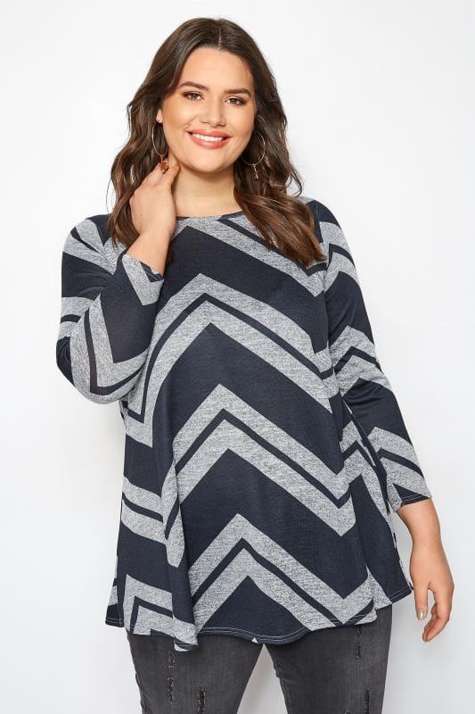 Longshirt mit Zickzack-Muster - Blau