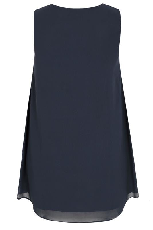 LUXE Navy Chiffon Embellished Sleeveless Top