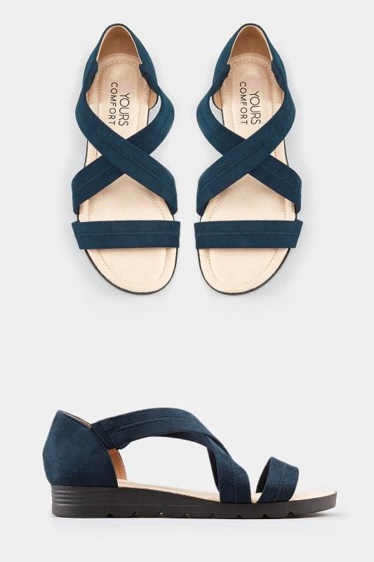 Navy Closed Back Cross Over Sandals In