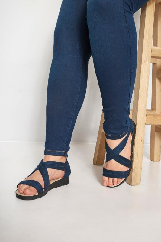 Wide Fit Sandals Navy Closed Back Cross Over Sandals In Extra Wide Fit