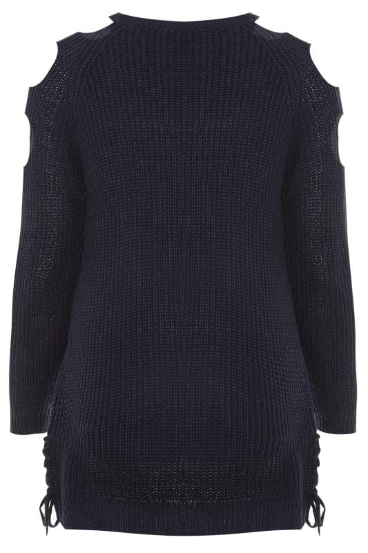 Navy Cold Shoulder Jumper