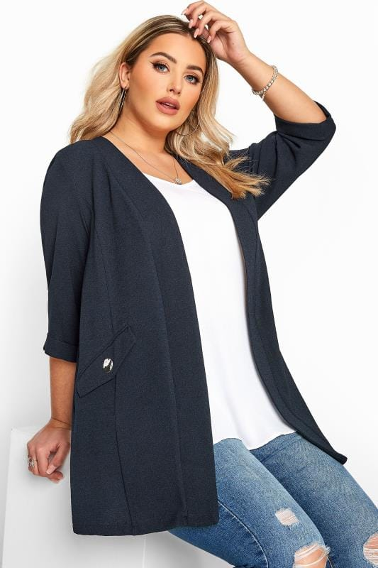 Plus Size Blazers Navy Collarless Blazer Jacket