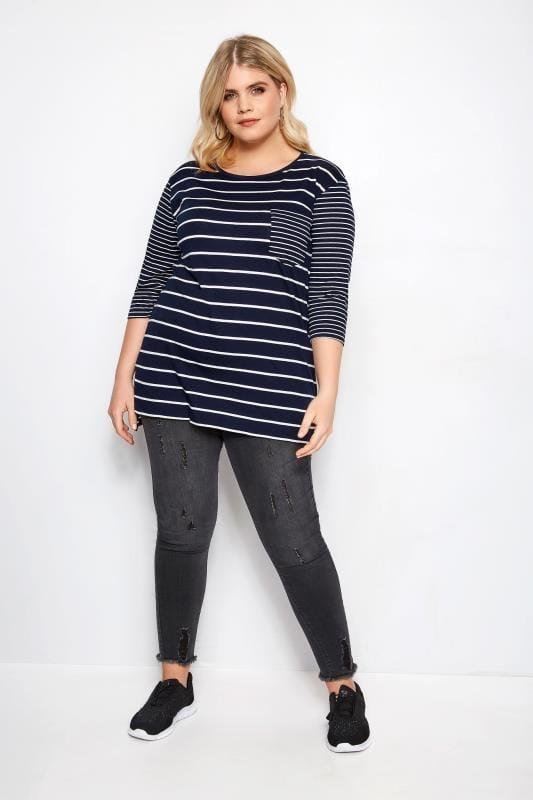 Navy Contrast Stripe Pocket T-Shirt