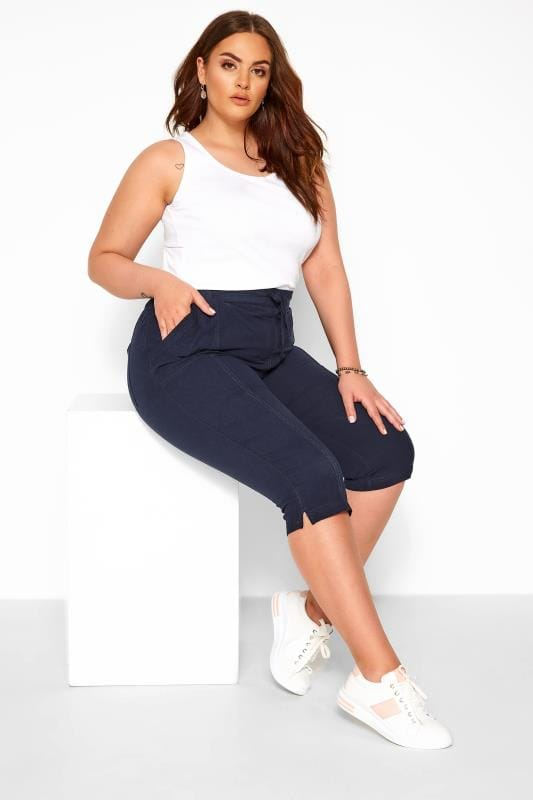 Cropped Trousers dla puszystych Navy Cool Cotton Cropped Trousers