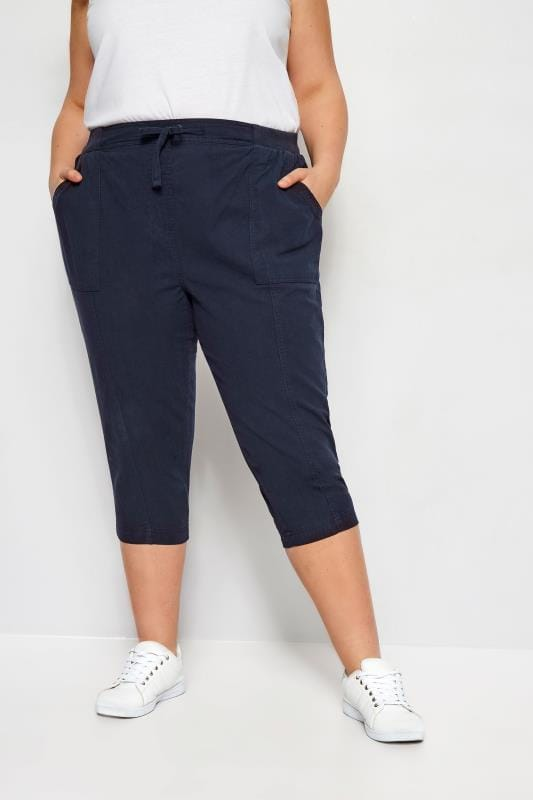 Plus Size Capri Pants Navy Cool Cotton Cropped Trousers