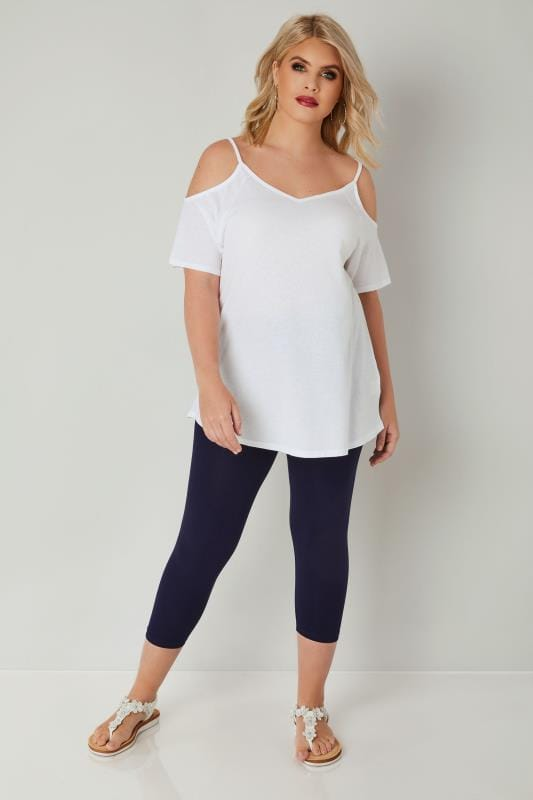 Navy baumwollene Capri-Leggings