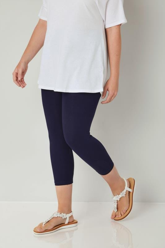 Plus Size Cropped & Short Leggings Navy Cotton Essential Cropped Leggings