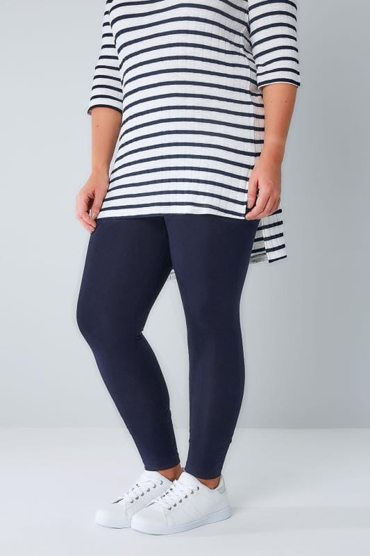Basic Leggings Grande Taille Navy Cotton Essential Leggings