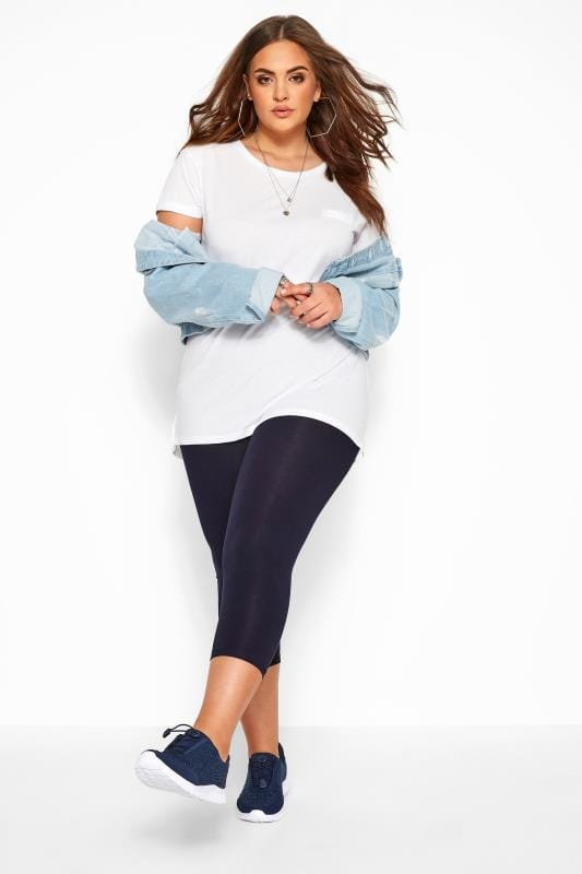 Cropped & Short Leggings Tallas Grandes Navy Cotton Essential Cropped Leggings