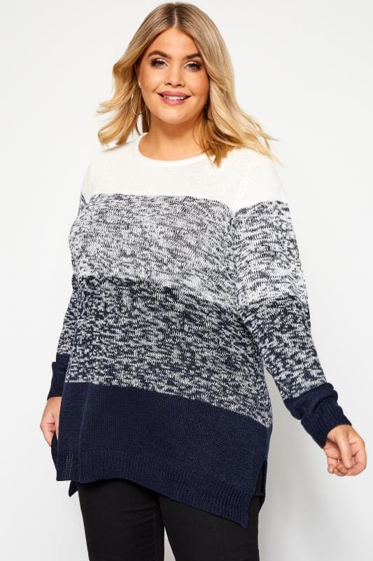 Plus Size Jumpers Navy & Cream Colour Block Knitted Jumper