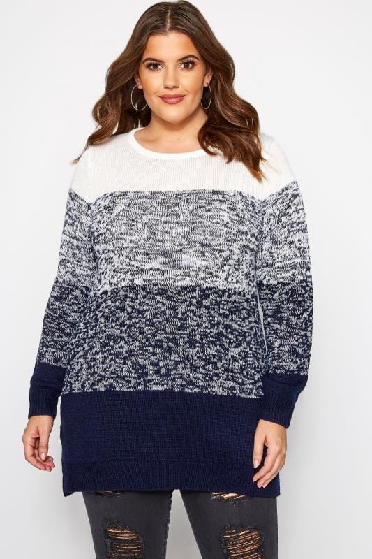Navy & Cream Colour Block Knitted Jumper