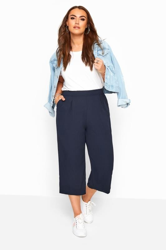Plus Size Cropped Trousers Navy Crepe Cropped Trousers