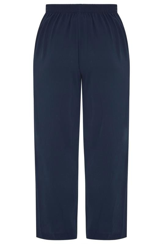 Navy Crepe Single Pleat Trousers