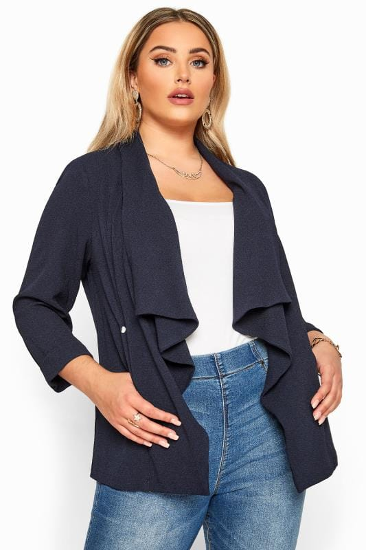 Plus Size Jackets Navy Crepe Waterfall Jacket