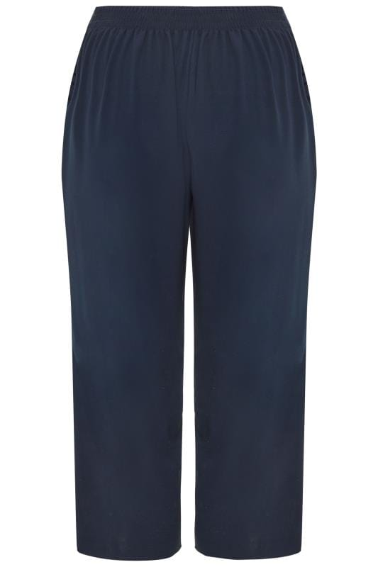 Navy Crepe Cropped Trousers