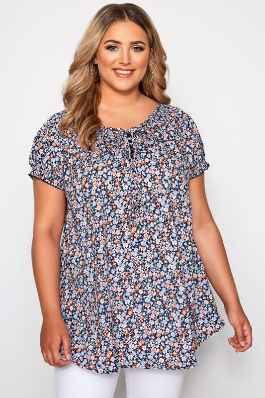 Plus Size Gypsy Tops Navy Ditsy Floral Gypsy Top