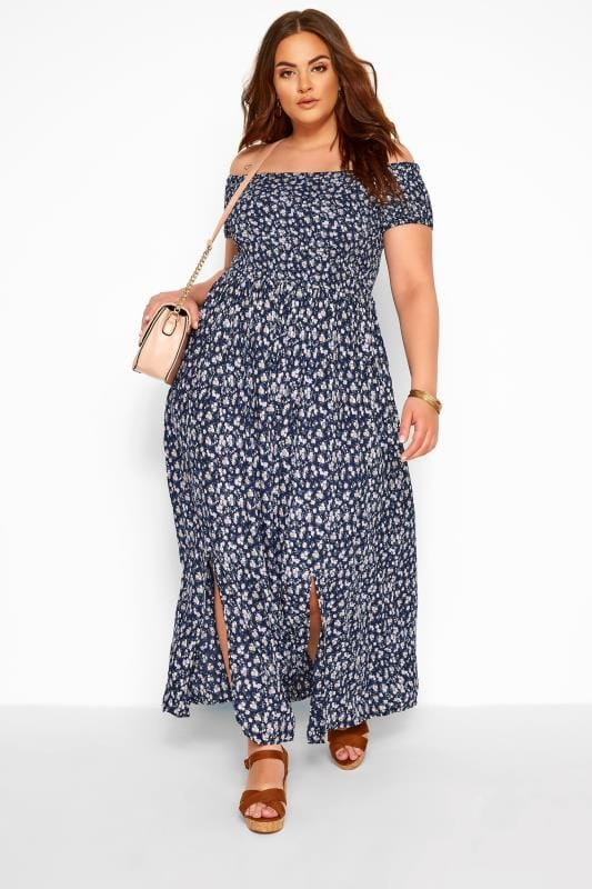 Navy Ditsy Floral Shirred Bardot Maxi Dress