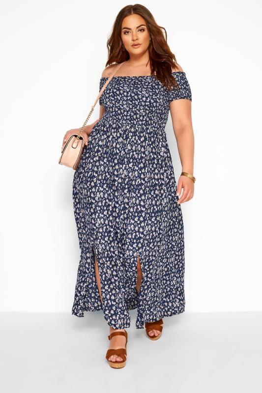 Navy Ditsy Floral Shirred Bardot Maxi Dress